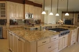 Light Colored Kitchens Kitchen Light Brown Sandstone Countertop Above White Wooden