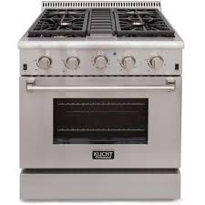 propane gas range with sealed burners and convection oven in stainless steel