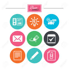 Office Documents And Business Icons Accounting Strike And