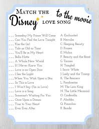 Bridal Shower Template Custom Match The Disney Love Song To The Movie Bridal Shower Game