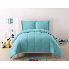 null anytime solid turquoise and grey reversible full queen comforter set 3 piece