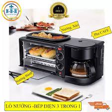Lò Nướng Bếp Nướng 10 Lít 3 Trong 1, Bếp Điện Đa Năng Kèm Ấm Đun Nước, Pha  Trà, Pha Cà Phê Và Chảo Rán Tiện Lợi