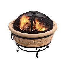 Teamson 27 2 In W Sand Cement Wood Burning Fire Pit In The Wood Burning Fire Pits Department At Lowes Com