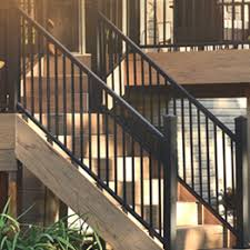 Wrought iron handrails capture a timeless design, perfect for any home or building. Metal Stair Railing Outdoor Porch Railing Decksdirect