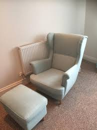 free ikea strandmon wing chair and footrest with ikea strandmon