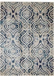 madison collection hm411 white blue dark blue modern damask area rug