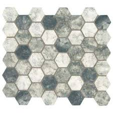 urban tapestry hexagon 12 in x 12 in x 6mm glass mesh mounted