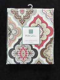 coral and brown shower curtain. peri lilian tile medallion coral grey brown tan - fabric shower curtain new and