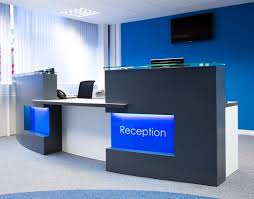 office reception furniture designs. delighful reception monolith reception desk in graphite grey white and blue for office furniture designs n