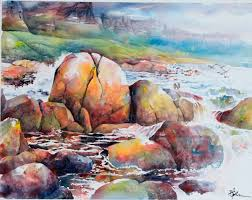 lian quan zhen beach near cape town watercolour