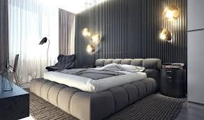 bachelor pad lighting. Modern Bachelor Pad Bedroom Domed Grey Material Bed Brass Lampshade Lighting Interior Design R