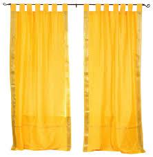 tab top sheer curtains. Yellow Tab Top Sheer Sari Curtain, Drape And Panel, Pair, 43x63, No Curtains H