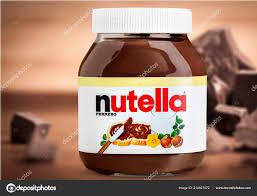 Light Chocolate Spread Nutella Hazelnut Spread Jar Light Background Stock