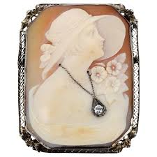14k white gold cameo and diamond brooch c1920 s for
