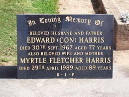 Benalla Cemetery Trust - Memorial to MYRTLE FLETCHER HARRIS, Tue 2nd May  1989