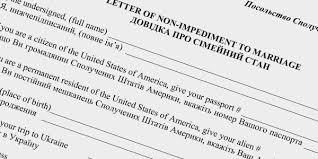 Letter Of Non Impediment To Marriage Ukrainemarriageguide Com
