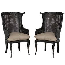 french cane chair. Black Cane Wing Back Chairs - French Country Chair