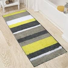 extra long bathroom runner rugs non slip microfiber bath mat rug runner for bathroom absorbent kitchen floor rug machine washable 18x47 2 yellow grey