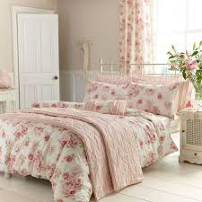 cream bedding set pink fl prints