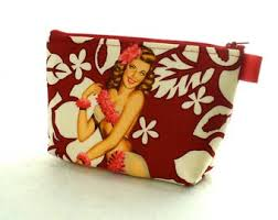 aloha s tropical hawaiian pin up fabric large pouch cosmetic bag