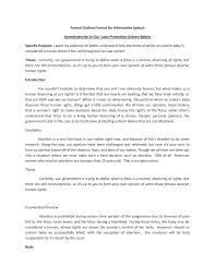 Speech Outline Format Abortion Speech Informative Speech 7600 105 Studocu