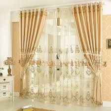 2016 new arrival golden color embroidery fashion blind ds curtain cortina sheer fl curtains for living
