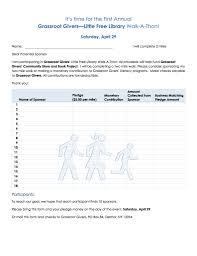 Walkathon Pledge Sheet Community Public Service Program