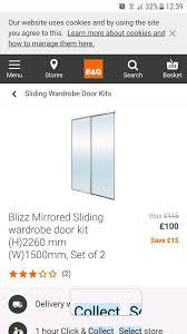 b q twin pack mirrored sliding doors 2260mm x 1500mm new