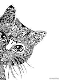Coloriage Mandala Chat Difficile Adulte Dessin Imprimer Style