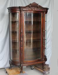 Antique glass curio cabinets online. Bargain John S Antiques Oak China Curio Cabinet Serpentine Curved Glass Bargain John S Antiques