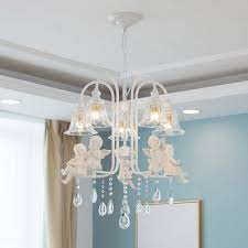 contemporary crystal chandelier angel baby white metal chandelier light with shade