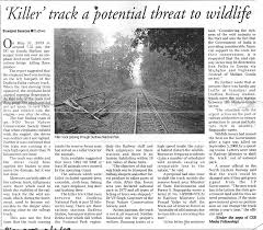 centre for science and environment killer track a potential threat to wildlife the pioneer lucknow 9 2009