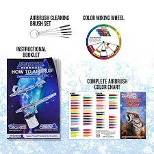3 Airbrush Professional Master Airbrush Multi Purpose Airbrushing System Kit With 6 Primary Opaque Colors Acrylic Paint Artist Set G22 G25 E91