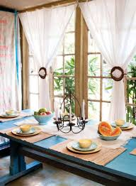 Stunning White Fabric Homemade Dining Room Curtains With Blue Square Dining  Table Decor As Romantic Dining Room Decorating Ideas