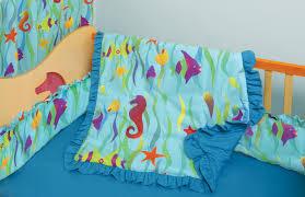 100 cotton made in usa crib toddler bedding set ocean theme sea seaweed fish seahorses starfish on blue background