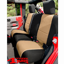 seat cover rear black tan neoprene jeep