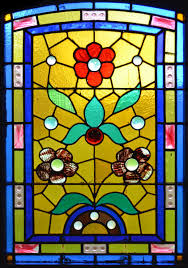 window stained glass pattern flowers yellow blue
