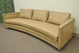 breathtaking 105 american long curved harvey probber on tufted leather mid century modern sofa