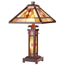 chloe lighting gareth tiffany style mission 3 light double lit wooden table lamp