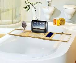 image of teak bathtub caddy design