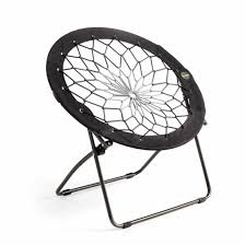 unique diy bungee chair with floral web and foldable black stand