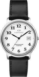 viewpoint by timex aa3d84200 men s black leather strap watch