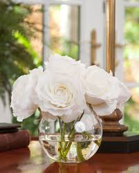 Rose Nosegay<br>Silk Flower Arrangement WHITE
