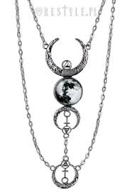 crescent long pendant occult jewellery