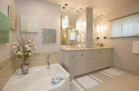 traditional bathroom lighting ideas white free standin. Traditional Master Bath With Pendant Lights Limestone Floor Tiles Bathroom Lighting Ideas White Free Standin E