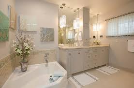 traditional master bath with pendant lights limestone floor tiles