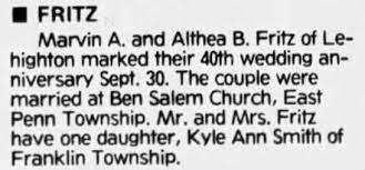 40th anniversary of Marvin Fritz and Althea Fritz - Newspapers.com