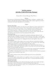 Food And Beverage Supervisor Job Description Blogue Me
