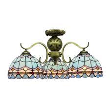3 lights globe shade blue lattice brass tone finish tiffany style chandelier