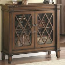 terrific accent cabinet with glass doors in coaster vintage lattice overlay 950348